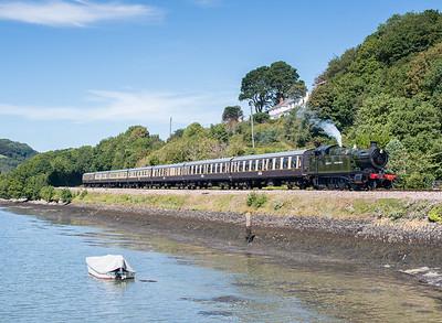 020913  Third steam shot in a row!!!A small kettle passes Britannia crossing near Kingswear