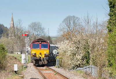 150414   It was either Golant again or this....66176 takes the Fowey branch at Lostwithiel. Taken by the assistant