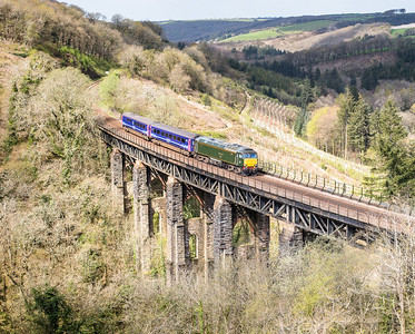 """190414  57604 heads over Largin viaduct with the Saturday """"trainer"""" ....5Z11 1020 Penzance to Plymouth....the light is about to die hence I have had to take it early.Nice to meet Jamie Squibbs here."""