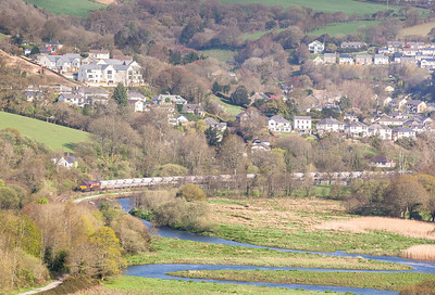 160414  Again a bit of an unplanned shot but I noticed a telephoto shot was on offer.66176 heads out of Lostwithiel down the branch to Fowey with 6G06 07:40 Goonbarrow-Fowey