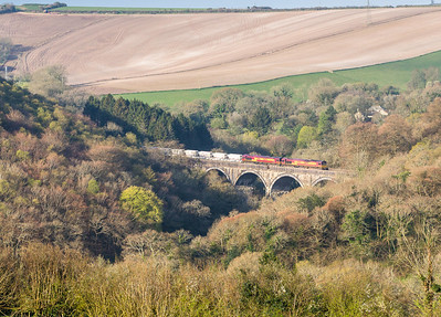 160414  Another unplanned shot at Milltown.I was running a bit late and expected to just catch the HST...Did not expect this lot...66140and 66176 head over Milltown viaduct with 6G06 07:40 Goonbarrow-Fowey.I assume they had put 140 in front as 176 had experienced a bit of trouble going up the bank the other day.....Nice!!!