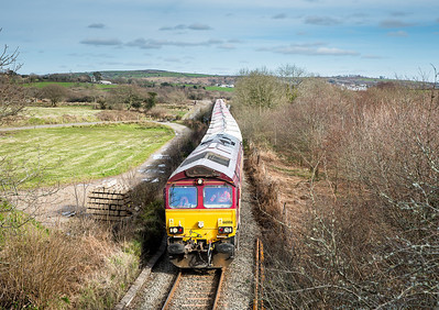 070314  66006 nears journeys  end at Lavrean with the 6G07 13:50 Fowey-Goonbarrow