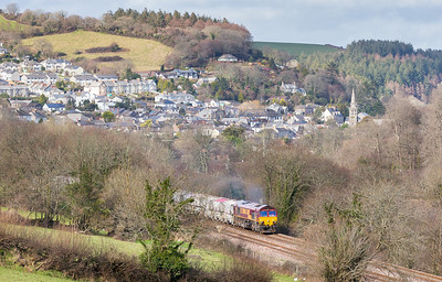 200214 With Lostwithiel in the background 66006 heads upgrade to Milltown with the 6G07  13:50 Fowey-Goonbarrow