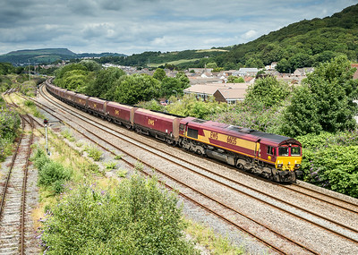 150714  Not exactly what we drove all the way here for........ 66135 passes Briton ferry with the 6E09  TThO 13:54 Onllwyn-Immingham