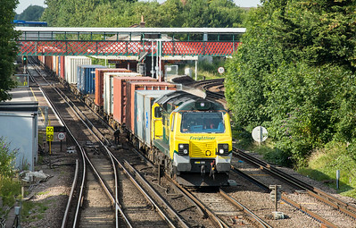 090714   Another week in Southampton on a training course for my new ship,this time Mr RS pointed me in the direction of St Denys if I had any decent weather in the evening.......70001 passes St Denys station with the 4O09  10:18 Trafford Park-Southampton