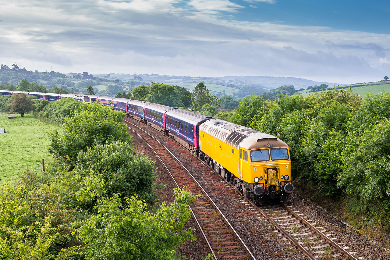 """090614  Had to be done despite the grim forecast,actually not sure if it """"had"""" to be done as I think the NR 57's look a bit daft……57305 heads past Moorswater with the down sleeper."""
