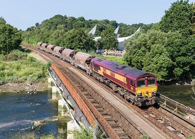 210614   With a booked stop of around 30 minutes at Plymouth a second shot was possible..66164 6Z55 0752 St Blazey SS ~ Exeter Riverside near Tavistock Junction.Not done this location in ages now two shots in two days.