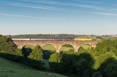 130614   A nervous look out of the curtains at 0500 revealed a cloudless sky and with 2 loco hauled trains at Liskeard in a few minutes we headed to Bolitho viaduct.First up.... 57305 heads the down sleeper over Bolitho viaduct.Even before the sleeper came we could hear the 37's growling up the valley from Looe.