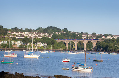 190614   FGW 125 crosses Coombe by Saltash viaduct with the 1A76 0505 Penzance - Paddington