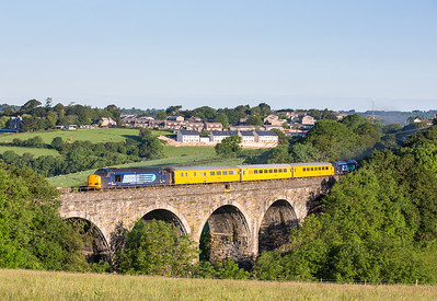 130614  I have been looking for an early morning train to do here for ages.The assistant mans the tripod and bags a master shot.....37607 + 37610 cross Bolitho Viaduct on 1Z03 03:43 Plymouth to Bristol Barton Hill.(via Looe)