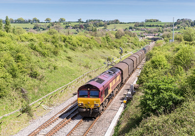 030514 Running two hours early 66014 on 6V13   08:12 Dollands Moor-Margam passes Chipping Sodbury.