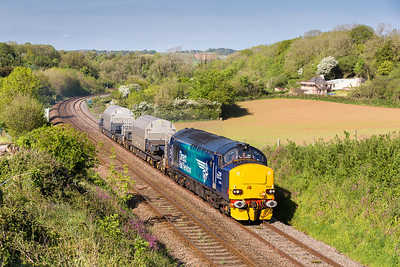 150514  37423 on the  6Z40 09:39 Crewe Coal Sidings  to Devonport Royal Dockyard on the assault of Dainton,we could hear it a couple of minutes away growling up the bank...nice.