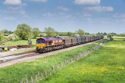 170514    Even by this time the panic alarm was going off as the cloud was building........66135 heads the  6V13  08:12 Dollands Moor-Margam through Shrivenham.Could the sun hold out for the grids...of course not and to make maters worse we drove home in virtually full bling....