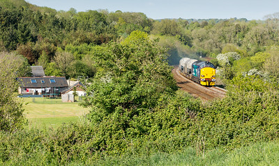 150514  Dainton from the assistants point of view......37423 on the  6Z40 09:39 Crewe Coal Sidings  to Devonport Royal Dockyard