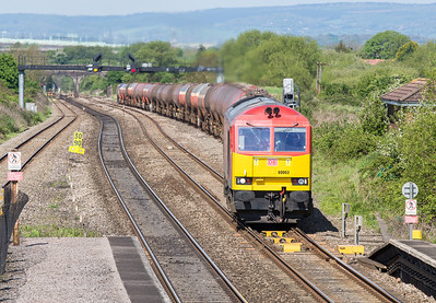 030514  A moderate telephoto shot of 60063 departing  Pilning loop.B13 is of the beaten track today and is heading towards Yate (Tytherington quarry branch) for a run around.66142 is on the rear.