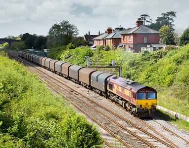 070514  66050 departs Chipping Sodbury loop with 6O32 10:00 Margam-Dollands Moor