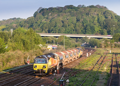 160514   After being held at Plymouth for a couple of service trains.70804 TnT 70807 6C65 04:30 St Erth to Westbury Down pass Tavistock junction yard