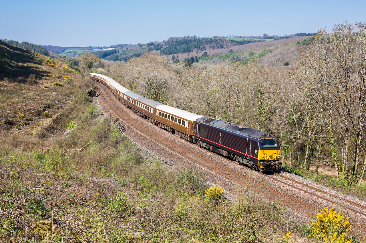 """190415   The assistant is left to man the tripod.......67006 passes Penkestle downs with the 1Z76 10:10 Penzance to Leeds """"The Cornish Riviera Statesman.If only we had a few more trains to phot down here.Very,very nice....."""