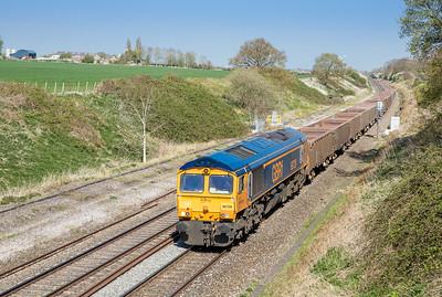 210415 66728 pass Compton Beachamp with the 6V60  1048 Harlow Mill to Pengam