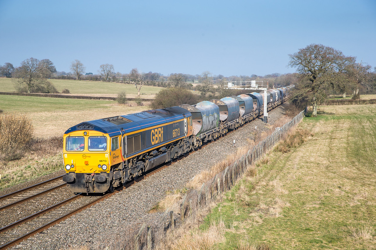 210315   66713 passes Acton Turville with an early running 6V43 11:56 Angerstein-Cardiff Pengam