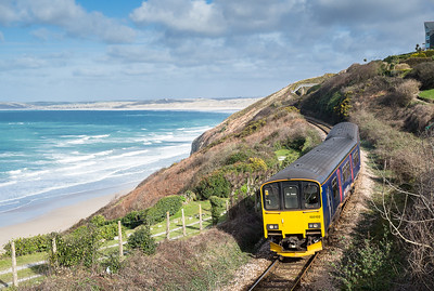 130315  150102 approaches Carbis bay with an afternoon service to St Ives.