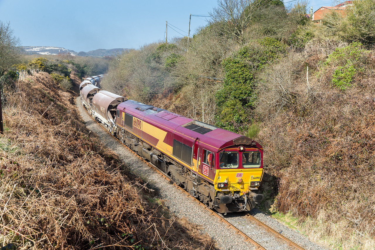180315  A difficult train to photograph at the best of times,we had no idea if it was even up the branch but after a 2 hour wait we heard it whistle and game on.....66090 passes Foxhole with the 6C53 1430 Parkandillack-St.Blazey,9 Jia's in tow.Even though it ran up over 2 hours late it still left an hour early.....V Nice,even MEGA