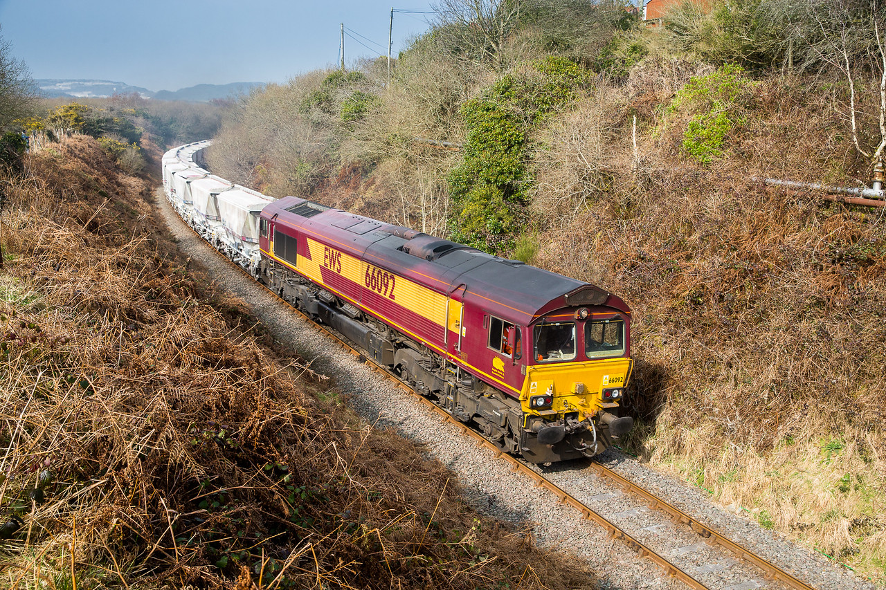 190315  With the best of any sun forecast to the west and scenic shots impossible in the high pressure haze why not go here again,CDA's on offer today....... 66092 passes Foxhole with the 6P24 14:24 Parkandillack-Fowey