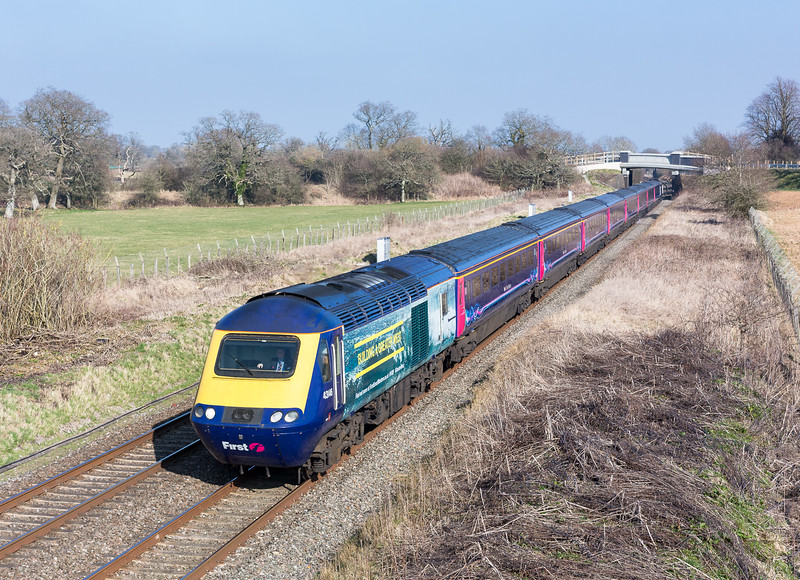 """200315  Vinyled FGW 125 43146 passes Acton Turville,lets hope the sun lasts for the predicted """"freight fest"""""""