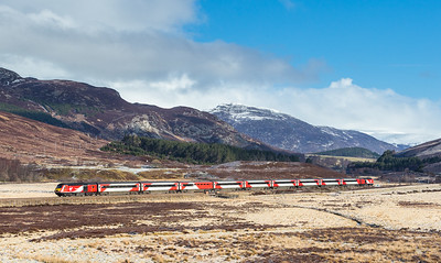 """270416 Virgin East coast 125 heads the 1E13 0755 Inverness to London Kings Cross """"Highland Cheiftain""""  past Crubenmore and down Glen Truim"""