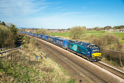 200416  68018 passes Greenhill junction with the 4D47  13:19 Inverness-Mossend,ages since I have been here