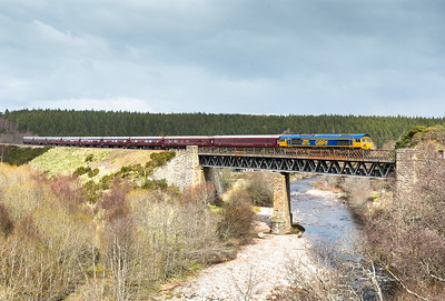 270416   The train was running 15 early and its just as well as its lights out (and  a big snow storm) in 10 seconds.....66733 heads the 1H81 0715 Kyle of Lochalsh to Aviemore over the River Dulnain and into Carrbridge
