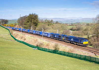 190416  Escape from CDA country….66427 and 66431 4S43    06:16 Daventry-Mossend pass Beckhouses