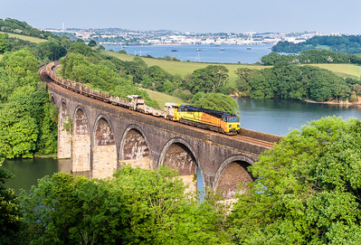 050615  70802 heads the6C97 16:52 Westbury to Truro via Penzance over Forder viaduct.