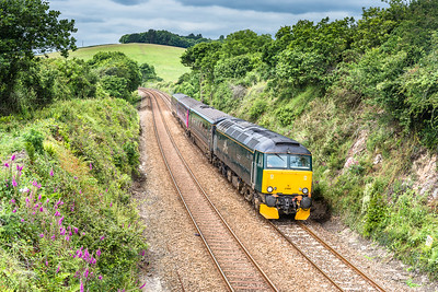 180616 57605 heads the 2P70 1125 Par to Plymouth past Forder viaduct