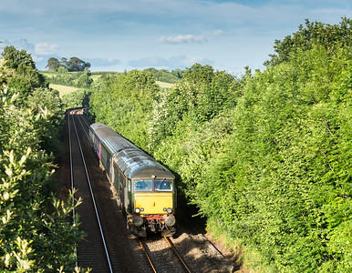 110616  The assistant is left to man the tripod to get a different view.....57604  Nears Shillingaham with the 2C51 1750 Exeter St Davids to Penzance