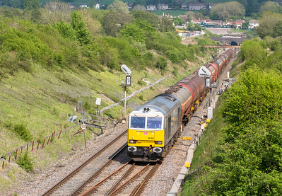 130516    Todays main target.....60066 heads through Chipping Sodbury with 6B33   13:00 Theale-Robeston,departed 75 late but was now only 25 mins or so down.