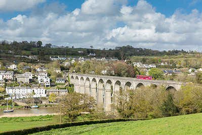 "020516   Well no massive mountains or intermodal freights but still a nice photo...Had to give this a go when I heard the ""red"" one was on it...153325 heads across Calstock viaduct.The assistant mans the tripod ."