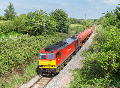 "130516    I suppose you could call it ""work stained"" .....60091 passes Westerleigh village with 6B13   05:00 Robeston-Westerleigh"