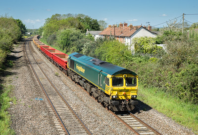 66953 passes Creech St Michael with the 6Y71 1000  Castle Cary - Westbury