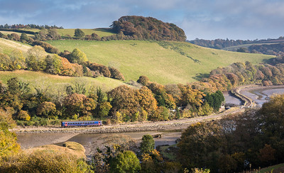 011116  With Autumn in full swing....FGW class 153 153373 meanders up  the East Looe river with the 2L84 1353 Looe to Liskeard