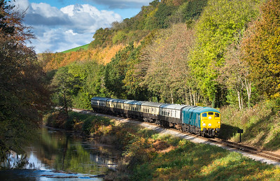 051116  The assistant bags a cracker....D5081 passes down the banks of the river Dart near stretcford with the 1115 Buckfastleigh to Totnes