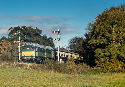 D7612 heads past Staverton signal box with the 1450 Totnes to Buckfasleigh