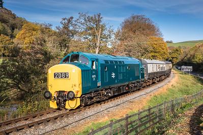 061116  D6795 rounds the curve at cadaford with the 0950 Buckfasleigh to Totnes