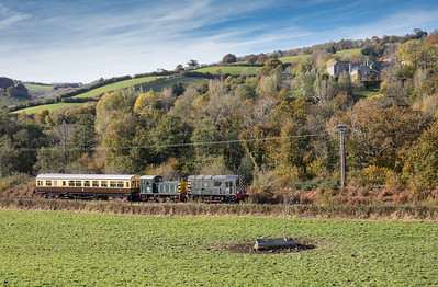 D3721 and D2246 head a late running Totnes to Buckfastleigh service past Bigadon house
