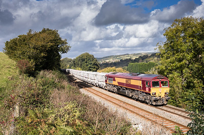 171016   If you get the light its such a great time of year for photos.....66023 heads up Trevarran bank near Milltown with the 6G07  13:20 Fowey-Goonbarrow.