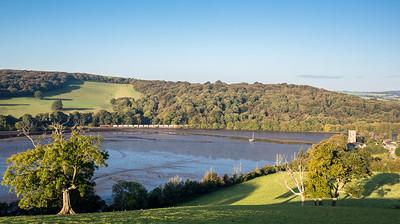 131016  66023 heads down the Fowey estuary at St Winnow with the 6G06  07:39 Goonbarrow-Fowey