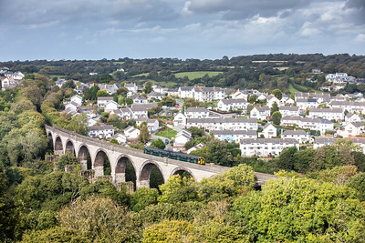 """160616   By the time we got down to here sun was in very short supply so quite pleased with this.....FGW """"green"""" class 150 150232 heads over Collegewood viaduct with the 2F79 1308 Truro to Falmouth Docks"""