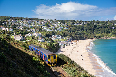 250916  .150246 hugs the Cliff above Carbis Bay whilst  working the branch service.