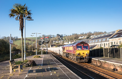 070417  On a clear spring morning,66175 heads into Lostwithiel with the 6G06  07:39 Goonbarrow-Fowey