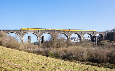 070417  43014 + 43062 head the NMT over Moorswater viaduct with the  1Q18 05:25 Old Oak Common to Paignton via Penzance